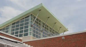 Metal soffit and siding - school